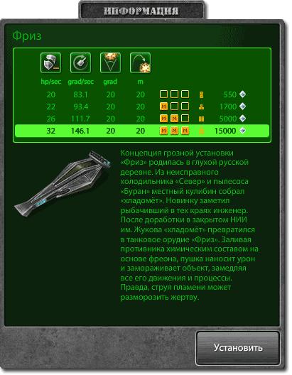 Тактико-технические характеристики пушки Фриз в игре Танки Онлайн