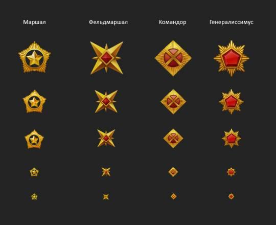 Значки новых рангов в Танках Онлайн 2.0: Фельдмаршал, Командор и Генералиссимус